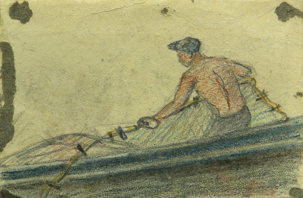 """Бершадский Юлий: Жанровая картина """"Рыбак"""""""