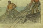 """Бершадский Юлий: Жанровая картина """"Рыбаки"""""""