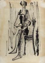 Фрейдин Александр: Фигуративизм. Сидящая женщина. Рисунок второй