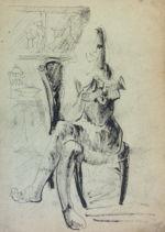 Фрейдин Александр: Фигуративизм. Сидящая женщина. Рисунок первый