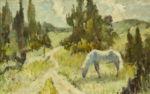 "Жураковский Виктор: Анималистика, Пейзаж ""Белая лошадь"""