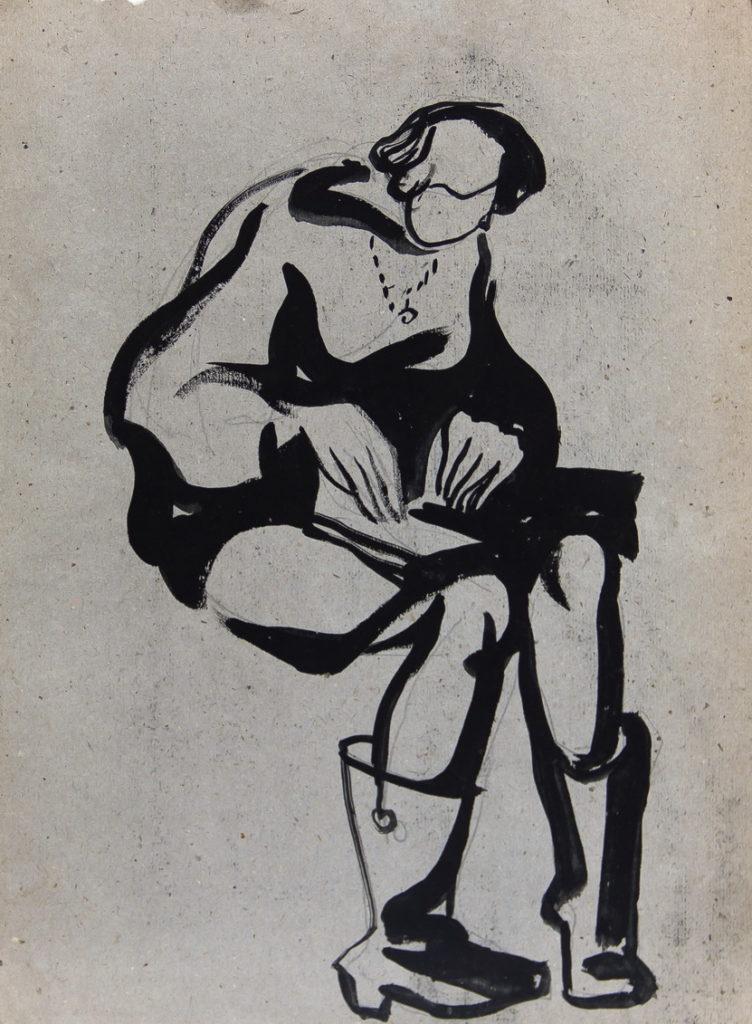 Фрейдин Александр: Сидящая женщина. Рисунок 4