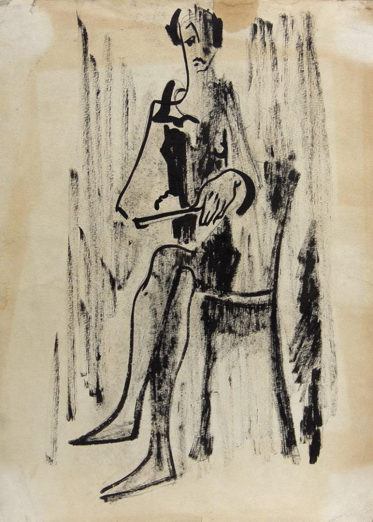 Фрейдин Александр: Сидящая женщина. Рисунок 2