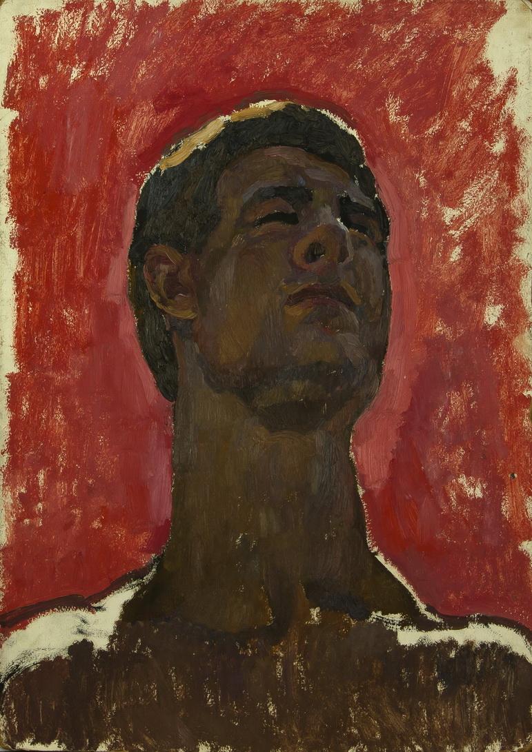 Фрейдин Александр: Портрет Мужчина на красном фоне