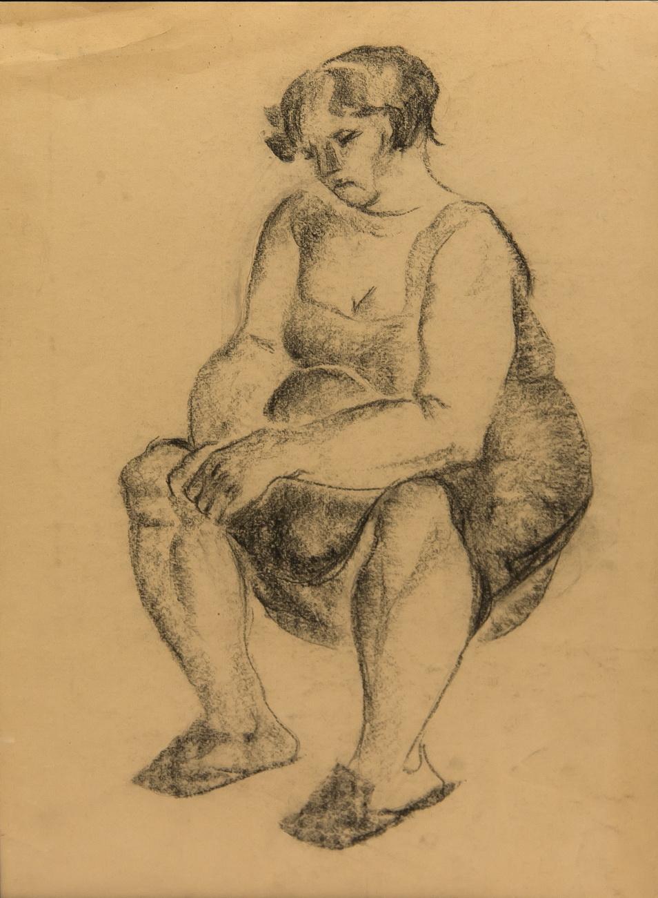 Фрейдин Александр: Фигуративизм. Сидящая женщина. Рисунок третий