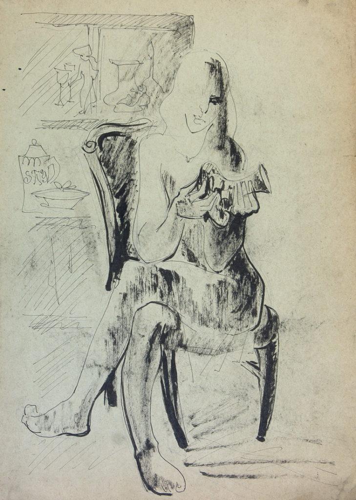Фрейдин Александр: Сидящая женщина. Рисунок 1