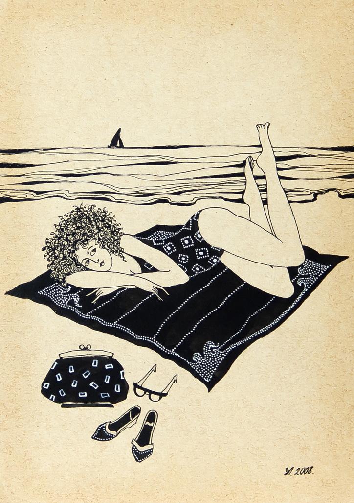 """Уварова Анастасия: """"Загорающая женщина"""" Жанровый рисунок 4"""