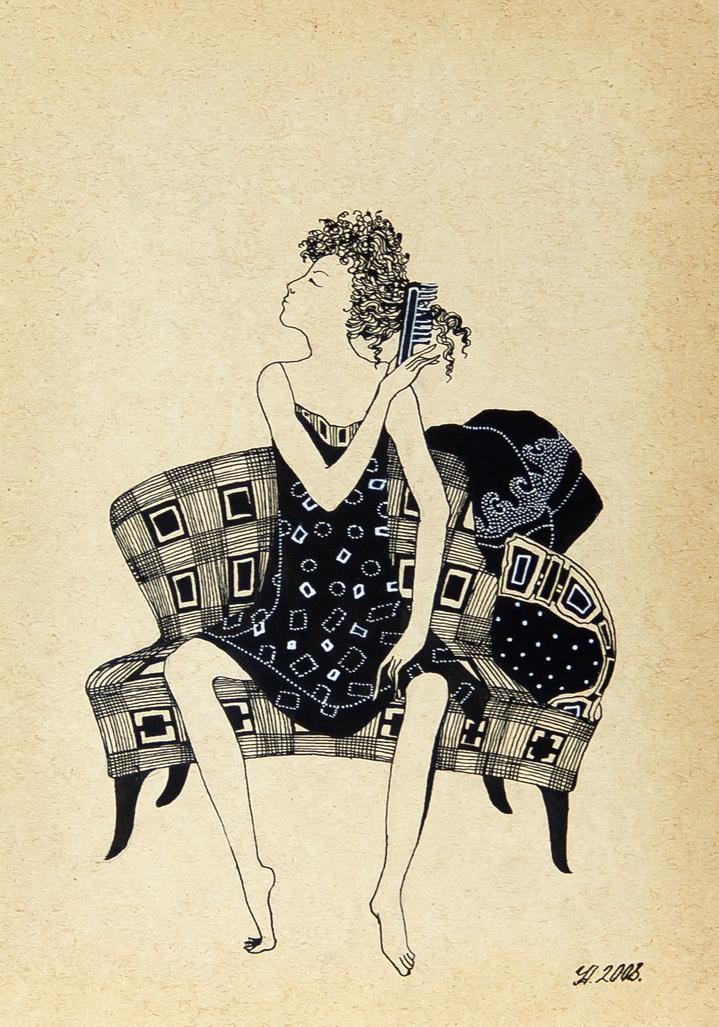 """Уварова Анастасия: """"Девушка на диване"""" Жанровый рисунок"""