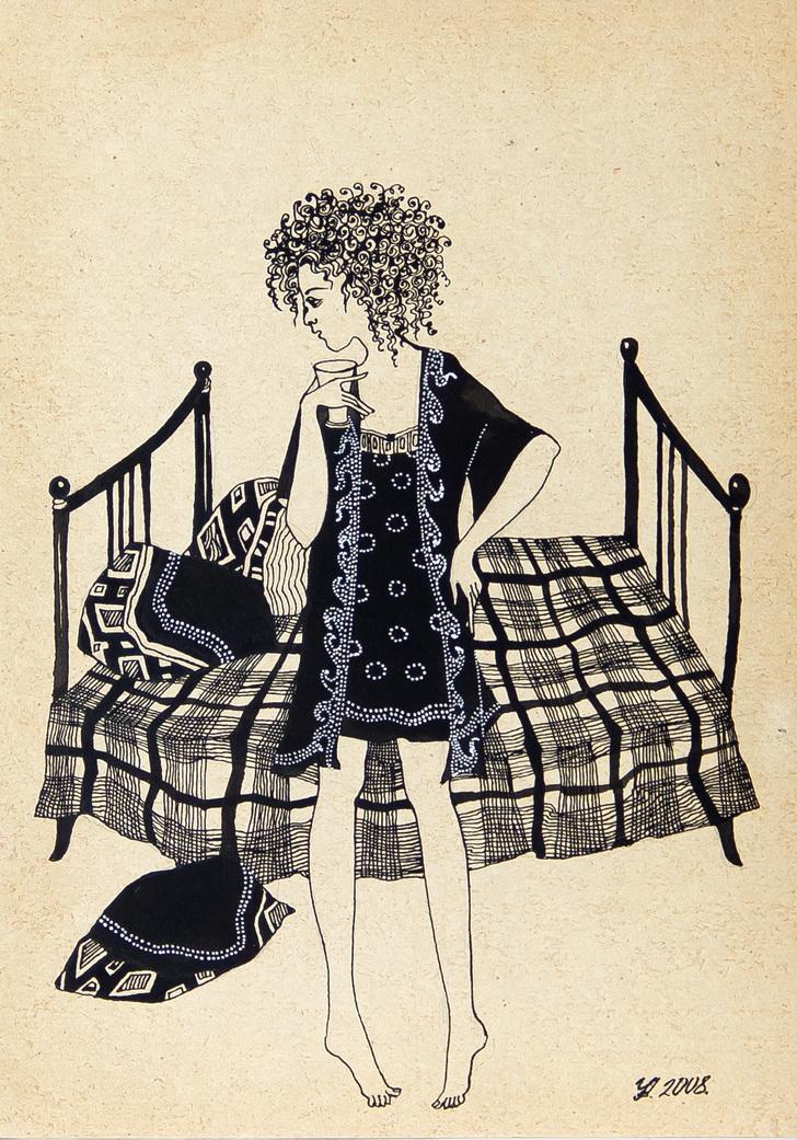 """Уварова Анастасия: """"Девушка на кровати"""" Жанровый рисунок"""